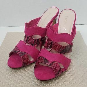 Shoedazzle Hot Pink Faux Suede Reptile Mule Heels